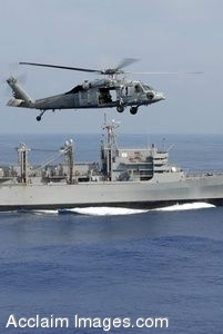 Clipart Photo of a Military Helicopter Flying Over a Navy Ship