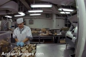 Clip Art Photo of a Navy Cook Preparing Lobster for Sailors