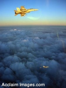 Clip Art Photo of Military Jets Flying Above the Clouds