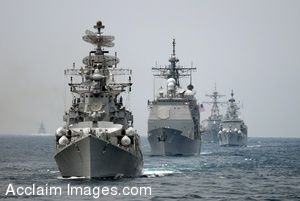 Clipart Photo of Navy Ships in Line Formation