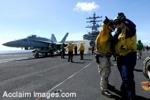 Clipart Photo of Soldiers Standing on an Aircraft Carrier