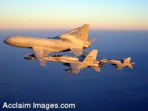 Clipart Photograph of Military Jets Refueling in Flight Over The Ocean