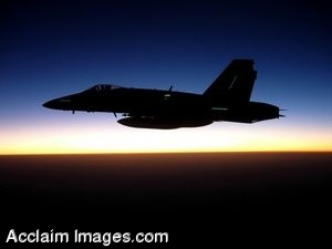 Clipart Photo of Jet Flying in Front of the Horizon