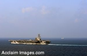 Clipart Photo of a Jet Coming In To Land on an Aircraft Carrier at Sea