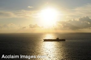 Clipart Photo of An Aircraft Carrier at Sea