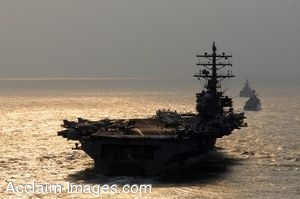 Clipart Photo Of An Aircraft Carrier At Sea With Other Military Ships