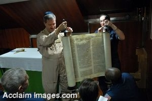 Clipart Photo of A Torah Being Held Up By A Rabbi on a Ship