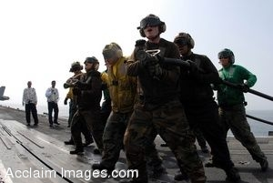 Clipart Photograph of Soldiers on an Aircraft Carrier Flight Deck
