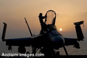 Clipart Photo of The Silhouette of a Jet With a Soldier Climbing Into It