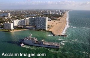 Clipart Photograph Of A Military Ship Entering Port