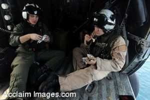 Clipart Photo of Soldiers Eating in the Back of a Helicopter