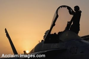 Clipart Photo of a Military Jet With A Female Soldier in The Cockpit