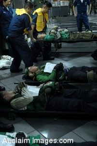 Clipart Photo of Military Medics Using Stretchers To Lift Simulated Casualties