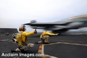 Clipart Picture Of Soldiers Signaling A Launching Jet on an Aircraft Carrier