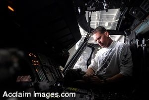 Clipart Photo Of A Soldier in a Helicopter Cockpit