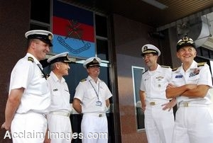 Clipart Photograph of a Group of High Ranking Sailors in Uniform