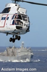 Clipart Photo of a Military Helicopter Taking Off