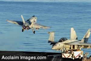 Clipart Photo of An Aircraft Carrier With A Military Jet Launching From It