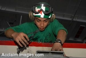 Clipart Photograph of a Military Mechanic Repairing Aircraft