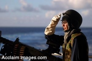 Clipart Photo of a Soldier On A Ship Manning a Mounted Machine Gun
