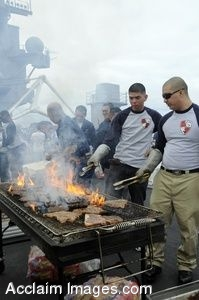 Clipart Photo of Soldiers on An Aircraft Carrier Flight Deck Barbecuing