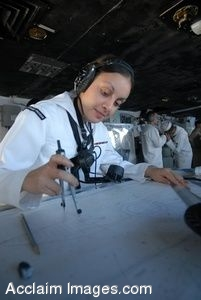 Clipart Photograph of a Female Sailor on an Aircraft Carrier Using a Map