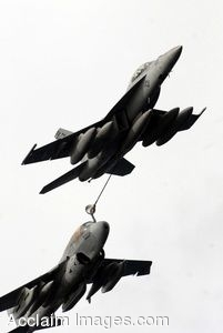 Clipart Photo of A Fighter Jet Refuelling In Flight