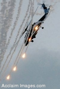Clipart Photograph of A Helicopter Shooting Flares