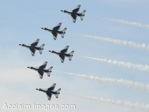 Clip Art Photo of Military Jets Flying In Formation
