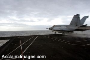 Clipart Photo of a Jet Taking Off From an Aircraft Carrier Flight Deck