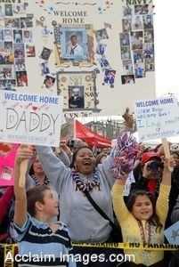 Clipart Picture of Soldiers Families Welcoming Their Loved Ones Home