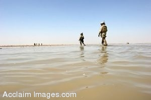 Clipart Photo of Soldiers Standing On A Lake Shore
