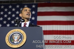 Clip Art Stock Photo of President Barack Obama Speaking at Camp Lejeune NC