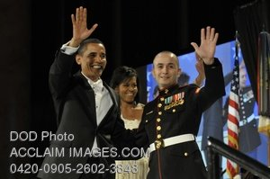 Clip Art Stock Photo of Pres. Obama and Elidio Guillen at the Commander in Chief