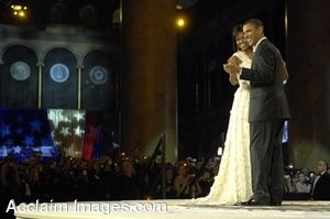Clipart Photograph of President and First Lady Obama Dancing at Inauguration