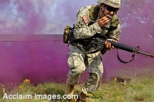 Clipart Photo of a Soldier Running During The Medical Badge Test