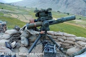 Clipart Photo of a Soldier Scanning The Area Around Him