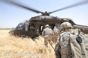 Clipart Photo of Soldiers Getting Onto a Blackhawk Helicopter