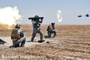 Clipart Photo of a Mortar Being Shot by Soldiers at an Aircraft