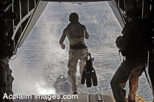 Clipart Photo of a Soldier Jumping From a Helicopter During Training