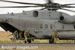 Clipart Photo of Soldiers In A Rescue Training Exercise Exiting a Helicopter