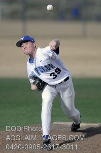 Clip Art Stock Photo of Air Force Baseball Player Pitching to Batter