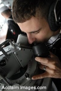 Clipart Photo of a Soldier Updating Navigation on an Aircraft Carrier