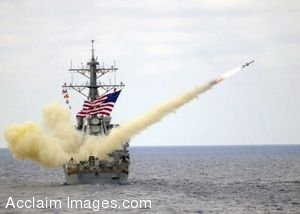 Clipart Photo of a Destroyer Firing a Guided Missile