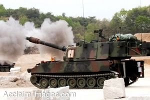 Clipart Photo of a Military Tank Firing Its Guns in Combat