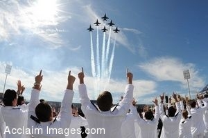 Clipart Photo of The Blue Angels Flying Over A Naval Academy Class