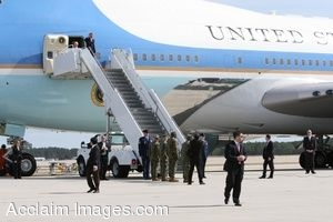 Clipart Photo of Air Force One With President Obama Coming Out Of It