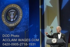 Clip Art Stock Photo of Vice President Joe Biden Speaking at the Commander in Chief