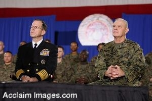 Clipart Photo of Military Personnel Attending A Presidential Speech