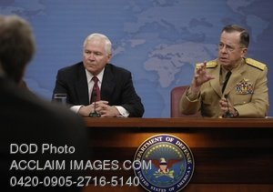 Clip Art Stock Photo of American Military Leaders at a Press Briefing